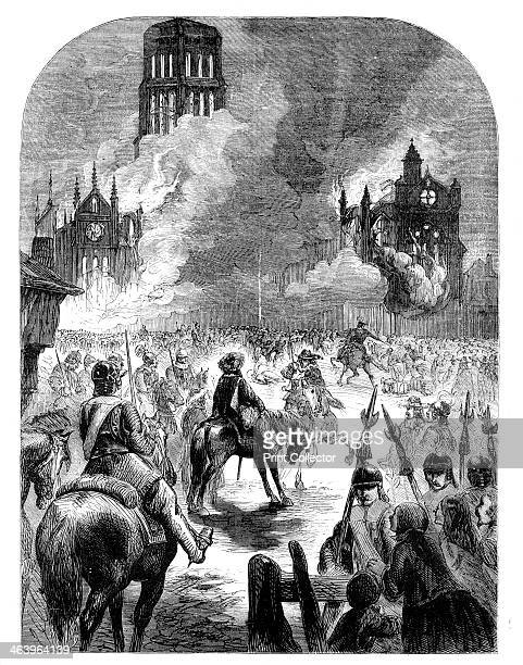 The burning of St Paul's Cathedral during the Great Fire of London c1902 From Cassell's Illustrated History of England' volume III