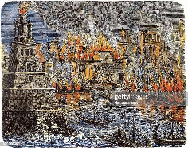 The Burning of the Library of Alexandria 1876 Private Collection Artist Anonymous