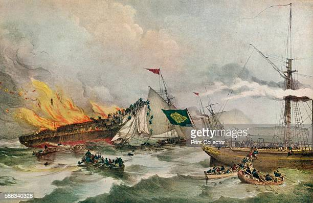 The Burning of the Ocean Monarch' circa 1848 The 'Ocean Monarch' set sail from Liverpool bound for Boston on 24 August 1848 carrying passengers A...