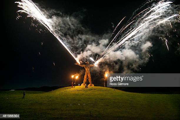 The burning of the Wickerman seen at midnight on the last day of the Wickerman festival at Dundrennan on July 25, 2015 in Dumfries, Scotland.