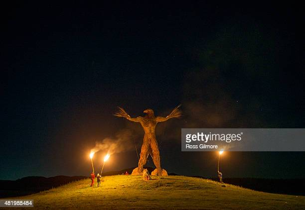 The burning of the Wickerman seen at midnight on the last day of the Wickerman festival at Dundrennan on July 25 2015 in Dumfries Scotland