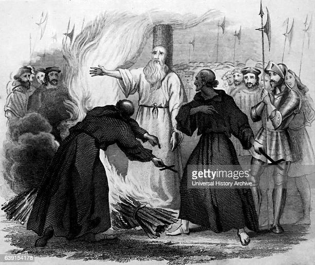 The burning of Thomas Cranmer a leader of the English Reformation and Archbishop of Canterbury Dated 16th Century