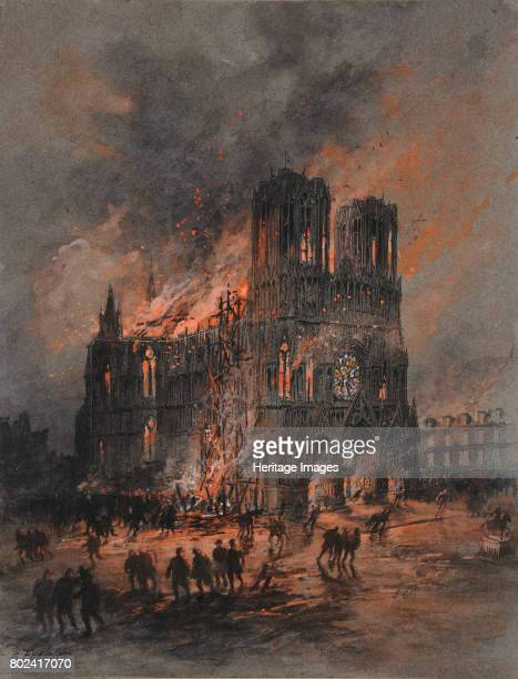 The burning Reims Cathedral 19141915 Found in the collection of MusÈe des BeauxArts Reims