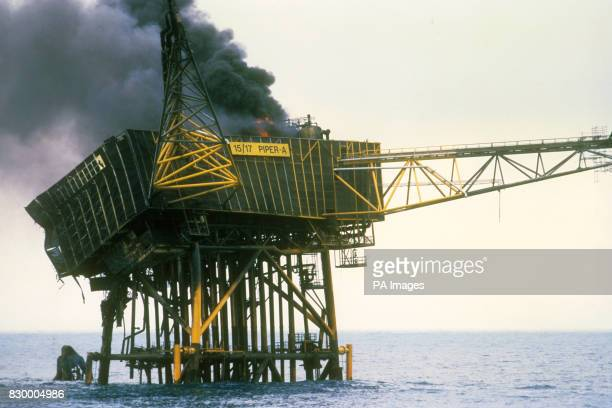 The burning remains of the Piper Alpha oil platform in the North Sea following an explosion on board The blaze lead to 168 deaths