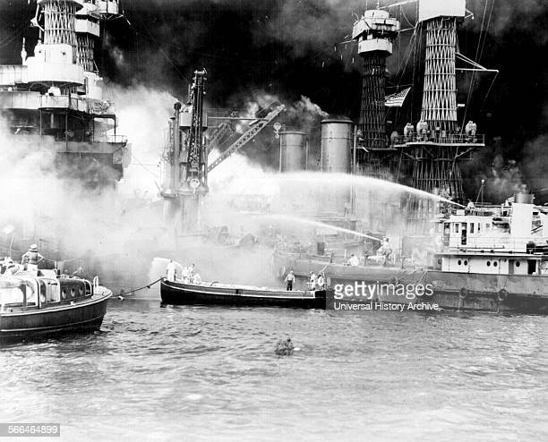 The burning 'West Virginia' Battle ship during the Japanese air raid on Pearl Harbour World War Two 1941