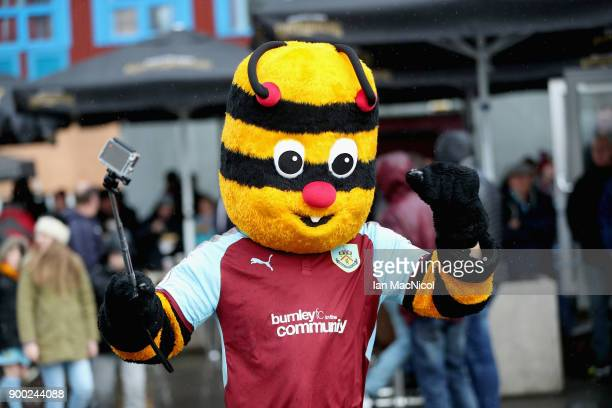 The Burnley mascot is seen outside the stadium prior to the Premier League match between Burnley and Liverpool at Turf Moor on January 1, 2018 in...