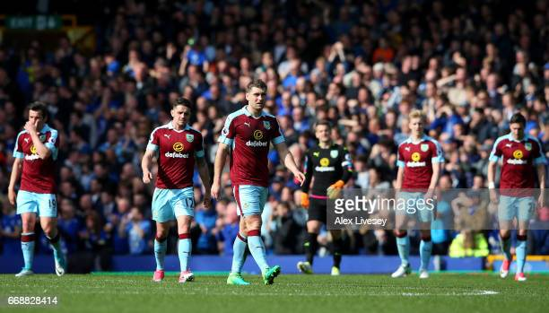 The Burnley team are dejected after a Everton goal during the Premier League match between Everton and Burnley at Goodison Park on April 15 2017 in...
