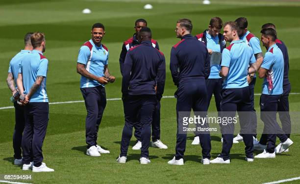 The Burnley team take a look around the pitch prior to the Premier League match between AFC Bournemouth and Burnley at Vitality Stadium on May 13...