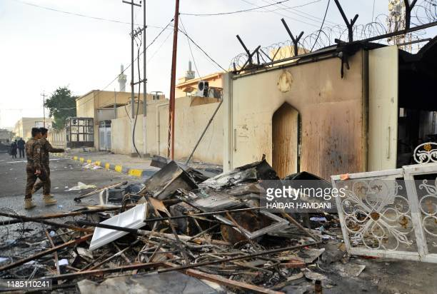 The burnt Iranian consulate is pictured in the southern Iraqi holy city of Najaf on November 28 two months into the country's most serious social...