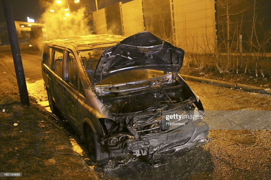 The burnt out remains of the van used in the heist near Brussels Airport on February 18, 2013 in Zaventem, Belgium. Using a van and car to break down the security fence a gang of robbers stole diamonds estimated to be worth 50 Million Euros from a security van.