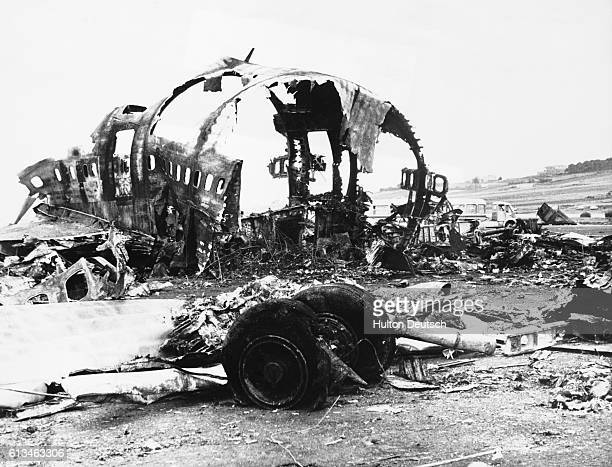The burnt out skeleton of the huge KLM jumbo jet which collided with a PanAm jumbo jet on the runaway of Santo Cruz airport Tenerife in the Canary...