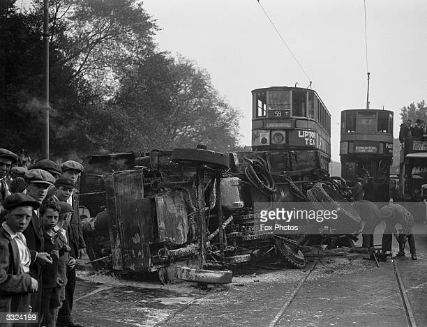 The burnt out wreckage of a steam wagon oil tanker after a road accident in Tottenham London September 1926
