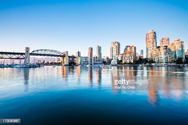 the burrard bridge in granville island - vancouver canada stock pictures, royalty-free photos & images