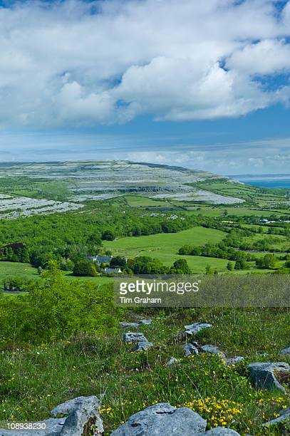 The Burren and Galway Bay from Corkscrew Hill Cappanawalla left Finvarra Point right County Clare West of Ireland
