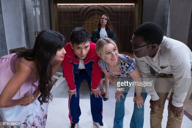 PLACE 'The Burrito' Episode 212 Pictured Jameela Jamil as Tahani Manny Jacinto as Jianyu Maya Rudolph as Judge Kristen Bell as Eleanor William...