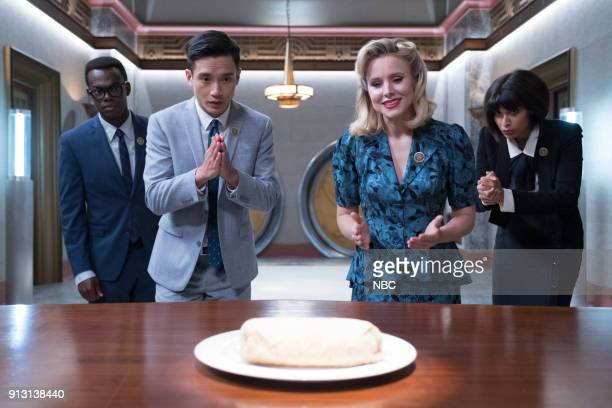 PLACE The Burrito Episode 212 Pictured William Jackson Harper as Chidi Manny Jacinto as Jianyu Kristen Bell as Eleanor Jameela Jamil as Tahani
