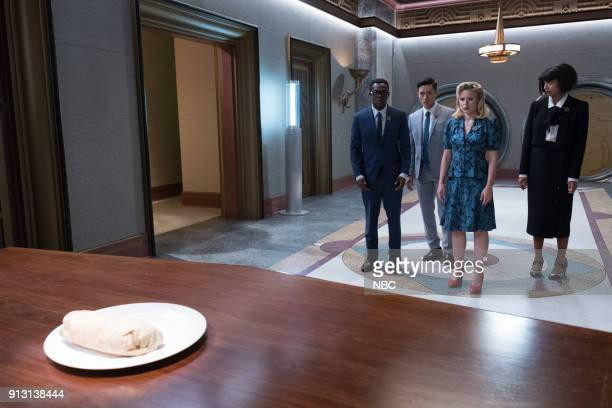 PLACE 'The Burrito' Episode 212 Pictured William Jackson Harper as Chidi Manny Jacinto as Jianyu Kristen Bell as Eleanor Jameela Jamil as Tahani