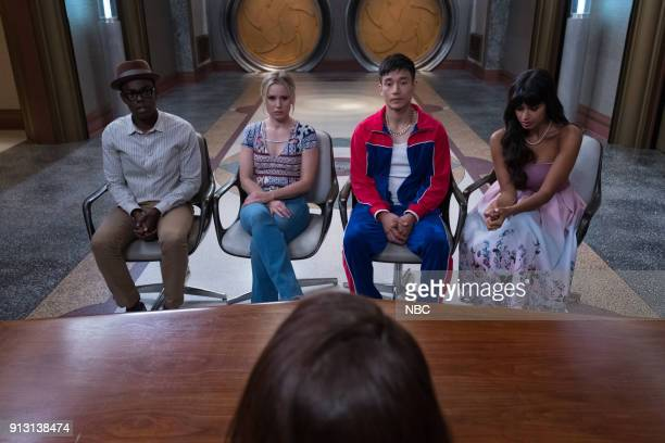 PLACE 'The Burrito' Episode 212 Pictured William Jackson Harper as Chidi Kristen Bell as Eleanor Manny Jacinto as Jianyu Jameela Jamil as Tahani