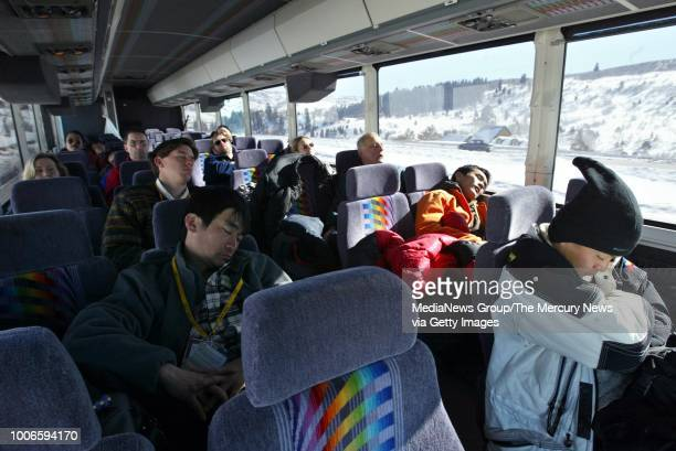 The bus back from the individual 15 km portion of the Nordic Combined at the Soldier Hollow venue in Wasatch Mountain State Park, Utah one hour from...