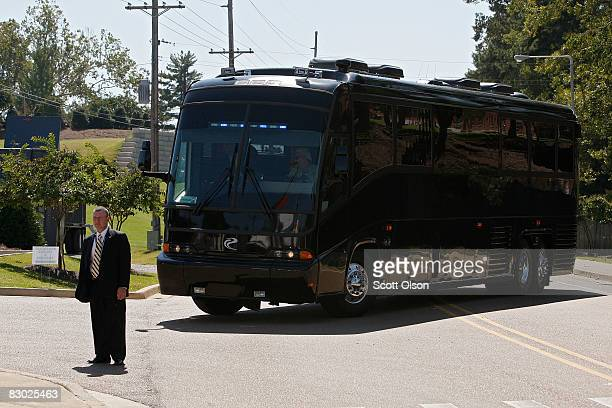 The bus carrying Democratic presidential candidate Senator Barack Obama arrives for his walk through prior to the first of three presidential debates...
