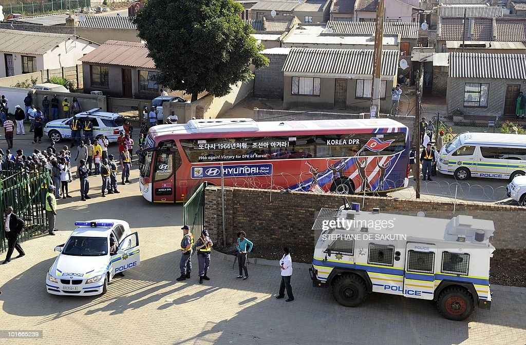 The bus carrying the North Korea's football team arrives at Makhulong stadium prior to their international friendly football match against Nigeria on June 6, 2010 in Tembisa . The 2010 FIFA World Cup football championship is due to take place in South Africa from June 11 to July 11 of 2010.