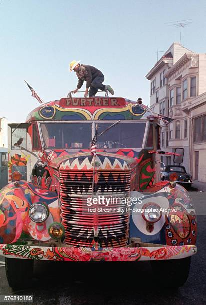 The Bus covered with psychedelic DayGlo designs carried Ken Kesey's Merry Pranksters from California to New York during the Electric KoolAid Acid...