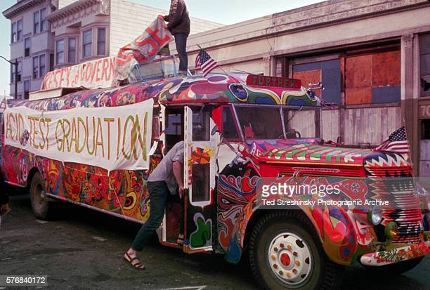 The Bus covered with psychedelic DayGlo designs was made famous when it was driven by the Merry Pranksters from California to New York Here it is...