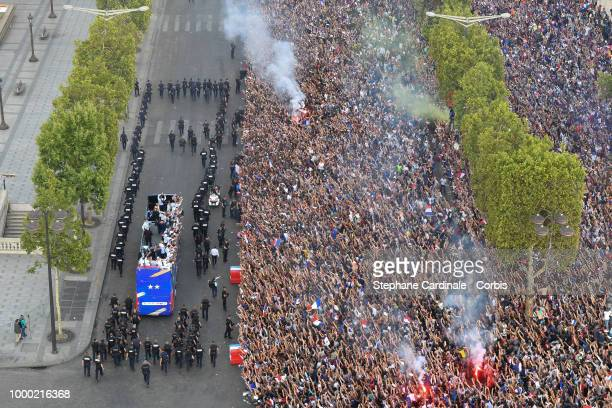 The Bus of France's World Cup Winning Team Parade Down The Champs Elysees on July 16 2018 at the Champs Elysees in Paris France