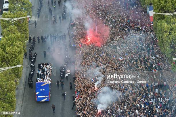 The Bus of France's World Cup Winning Team Parade Down The Champs Elysees, on July 16, 2018 at the Champs Elysees in Paris, France.