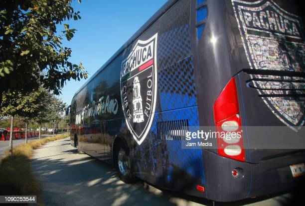 The bus of Pachuca arrives prior to the first round match between Monterrey and Pachuca as part of the Torneo Clausura 2019 Liga MX at BBVA Bancomer...