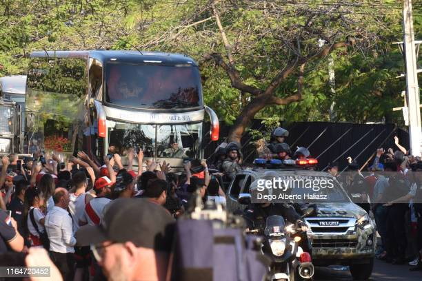 The bus of River Plate arrives to the stadium before a match between Cerro Porteño and River Plate as part of Quarter Finals of Copa CONMEBOL...