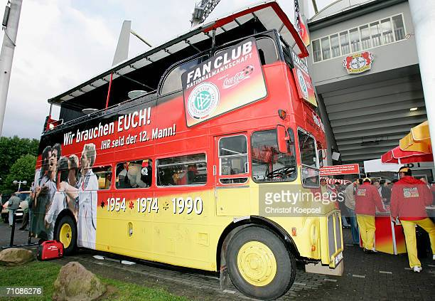 The bus of the German Football Fan Club during the International Friendly match between Germany and Japan at the Bayarena on May 30, 2006 in...