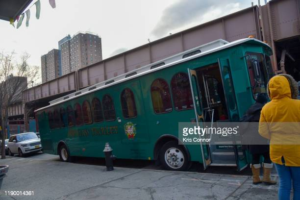 The bus where musicians perform during Jingle Train as part of Make Music Winter on December 21 2019 in New York City