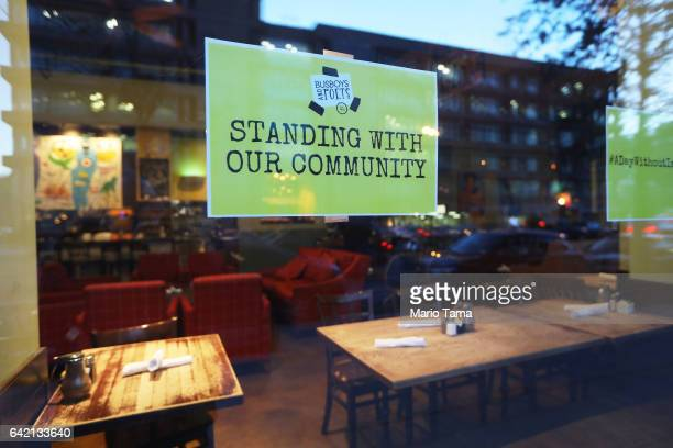 The Busboys and Poets restaurant is closed as Latino immigrant workers across Washington stay home as part of a Day Without Immigrants nationwide...
