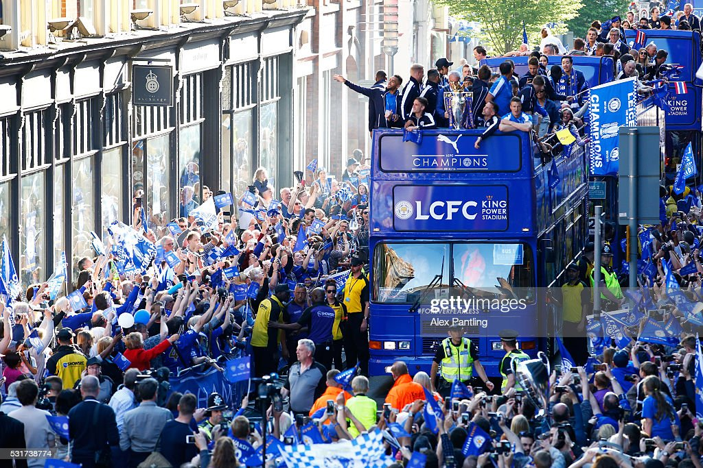 Leicester City Barclays Premier League Winners Bus Parade : News Photo