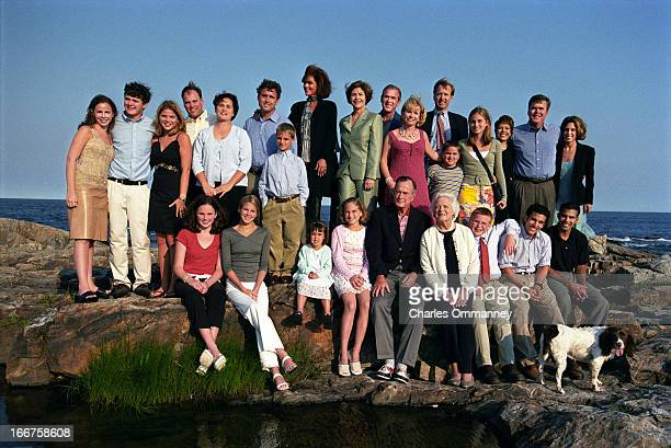 The Bush Family is photographed for Newsweek on June 29 in Kennebunkport Maine Left to right back row Barbara Bush Sam LeBlond Jenna Bush Robert Koch...