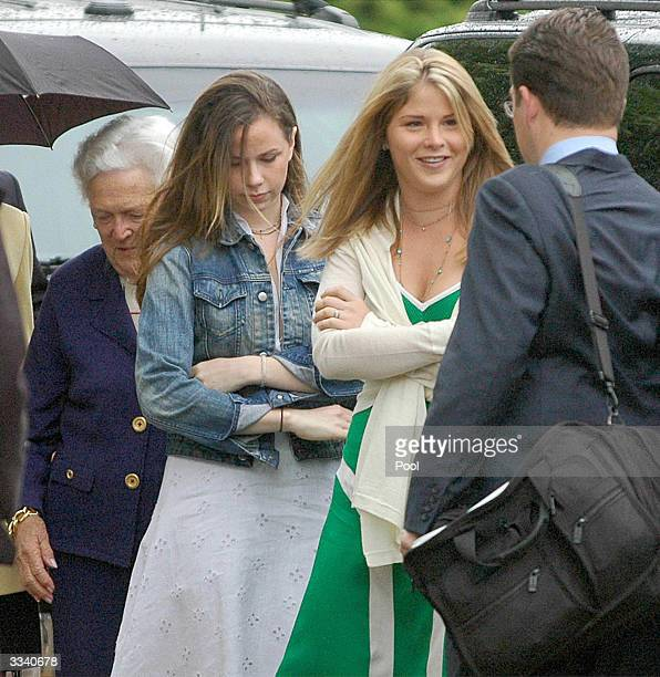 The Bush twins Jenna and Barbara arrive with their Grandmother Barbara Bush for Easter services on Fort Hood Texas Sunday April 11 2004