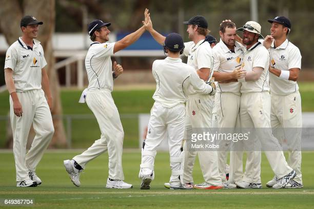 The Bushrangers celebrate after Jon Holland and Cameron White of the Bushrangers combined to take the wicket of Hilton Cartwright of the Warriors...