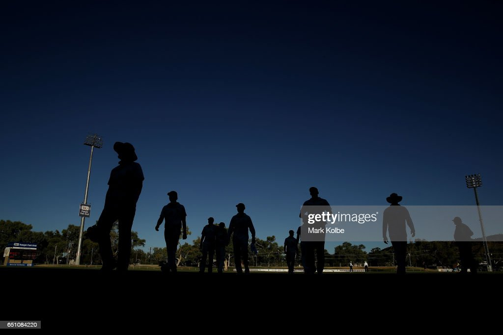 The Bushrangers leave the field at the end of play during the Sheffield Shield match between Victoria and Western Australia at Traeger Park on March 10, 2017 in Alice Springs, Australia.