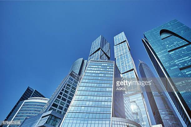 the business center of moscow city - moscow international business center stock photos and pictures