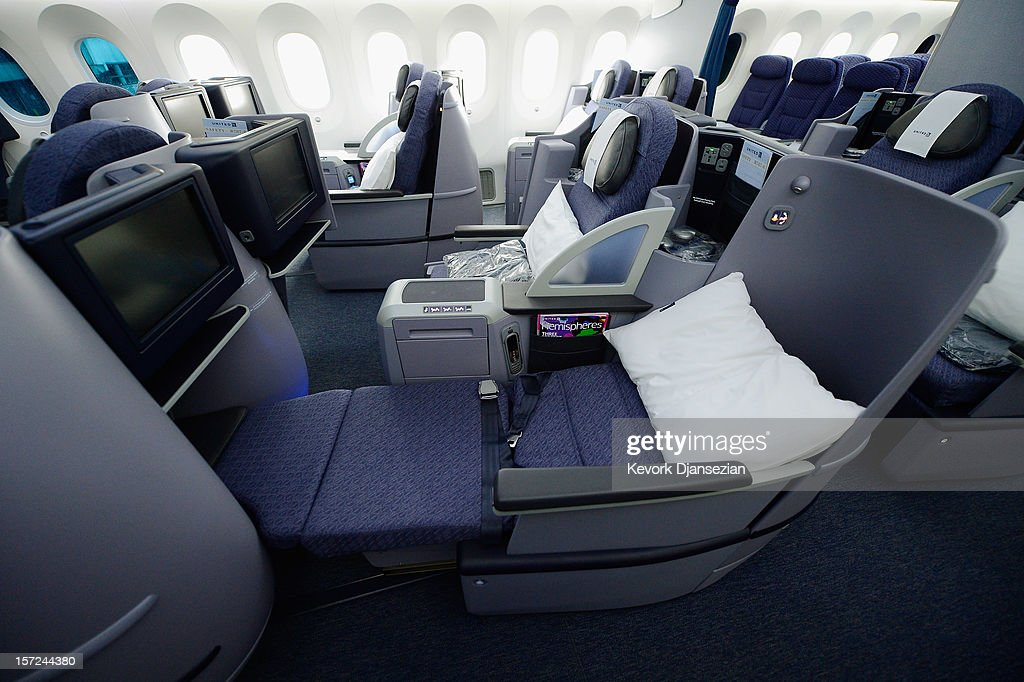 The Business First Class seats are seen on the United Airlines Boeing 787 Dreamliner at Los Angeles International Airport November 30, 2012 in Los Angeles, California. In January the new jet is scheduled to begin flying daily non-stop between Los Angeles International airport and Japan's Narita International Airport and later to Shanghai staring in March. The new Boeing 787 Dreamliner will accommodate 219 travelers with 36 seat in United Business First, 70 seats in Economy Plus and 113 in Economy Class. The carbon-fiber composite material that makes up more than 50 percent of the 787 makes the plane jet and more fuel-efficient.