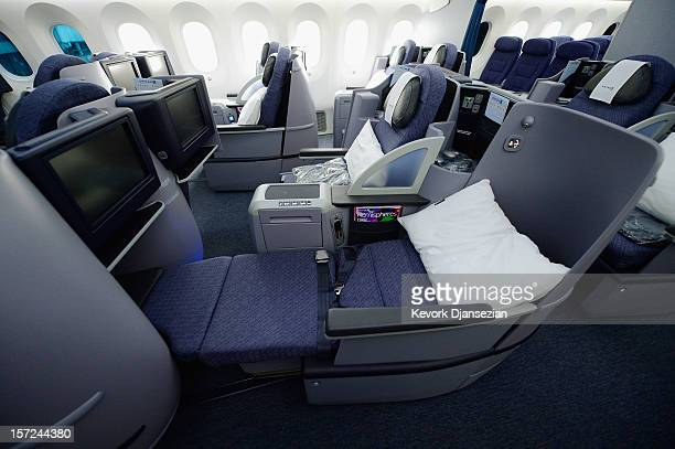 The Business First Class seats are seen on the United Airlines Boeing 787 Dreamliner at Los Angeles International Airport November 30, 2012 in Los...