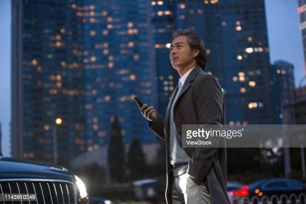 the business man standing beside the car - prosperity stockfoto's en -beelden