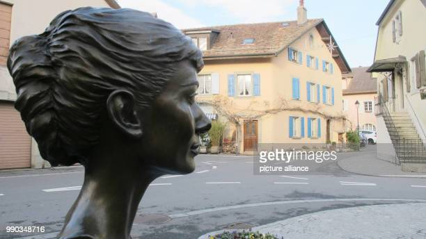 The bust depicting the actress Audrey Hepburn in Tolochenaz Switzerland 06 January 2018 Hepburn died here aged 63 25 years ago in Switzerland where...
