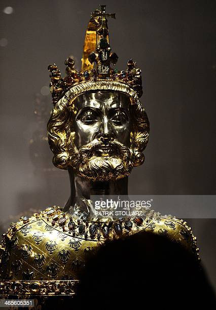 The bust of Charlemagne is photographed in the treasure chamber of the cathedral of Aachen western German on January 28 on the 1200th anniversary of...