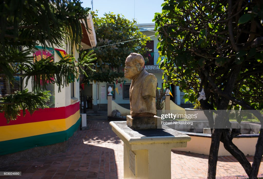 HILLSBOROUGH, CARRIACOU, GRENADA - FEBRUARY 3: The bust of Herbert Augustus Blake, former Prime Minister of Grenada (1918-1989) stands on a pedestal outside of government buildings February 3, 2018 in Hillsborough, Carriacou, Grenada. Carriacou is one of three islands that make up the country of Grenada.