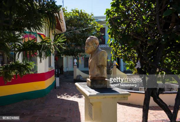 HILLSBOROUGH CARRIACOU GRENADA FEBRUARY 3 The bust of Herbert Augustus Blake former Prime Minister of Grenada stands on a pedestal outside of...