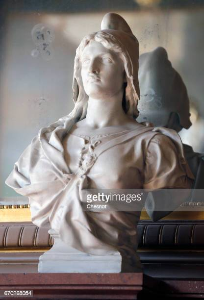 The bust of 'Marianne' figure of the French Republic and its values is seen inside a town hall on April 19 2017 in Paris France French 2017...