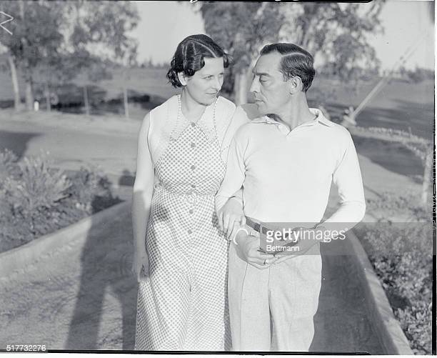 The Buster Keatons Home After Surprise Wedding Los Angeles Calif Buster Keaton solemnfaced comedian of the screen pictured with his bride the former...