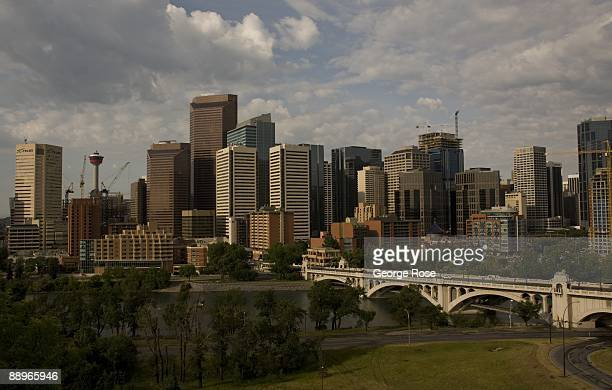 The bustling downtown skyline and Bow River is seen in this 2009 Calgary Canada early morning city landscape photo